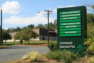 Greenwoods Industrial Park sign listing businesses