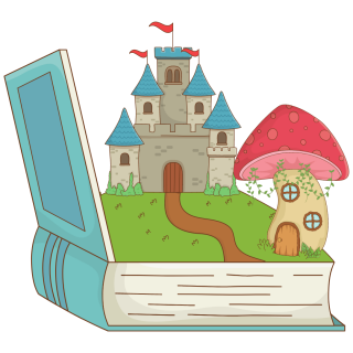 image of open book with castle
