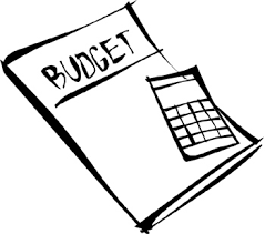 folder labeled budget with calculator