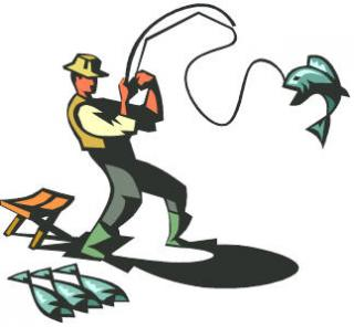 animated fisherman catching a silver fish