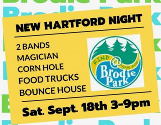 yellow background with @BrodiePark logo and details for New Hartford Night