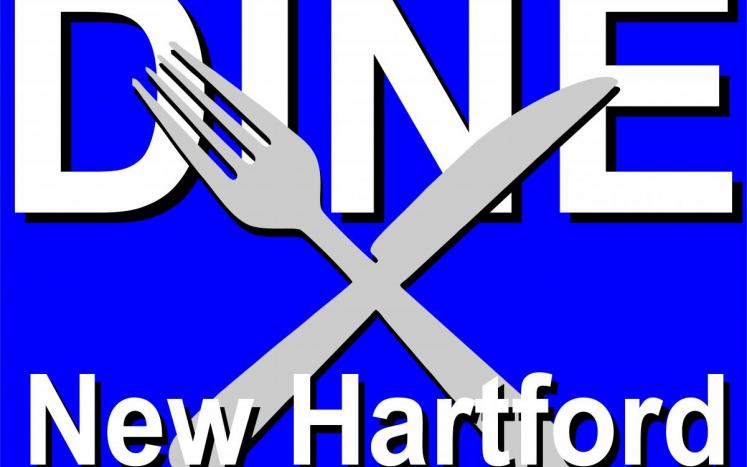 blue background with Dine New Hartford in white and fork & knife crossed in front