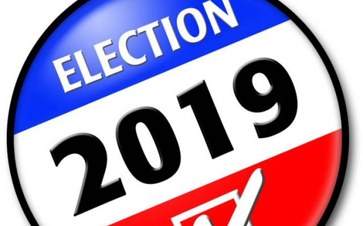 Red White & Blue Election 2019 Button with checkbox